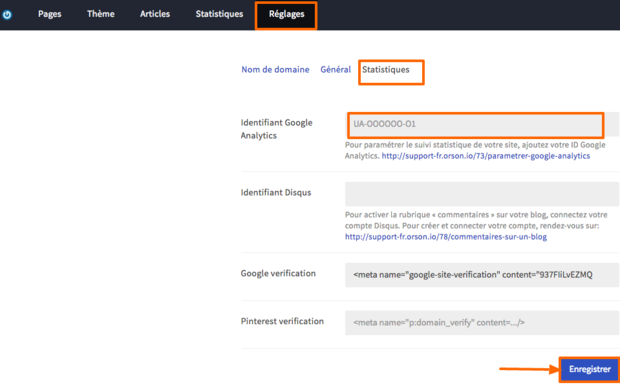 Réglages de Google Analytics